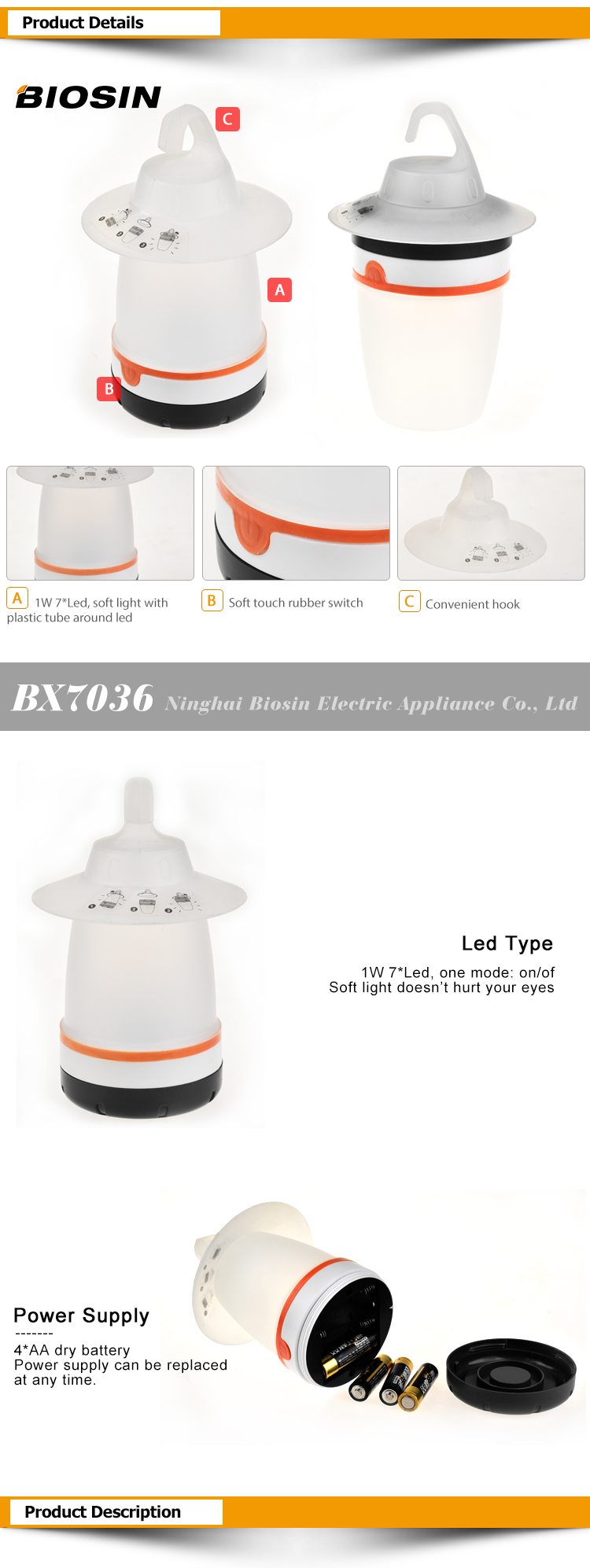 BIOSIN abs plastic 2 modes various color to choose 4aa camping lanterns