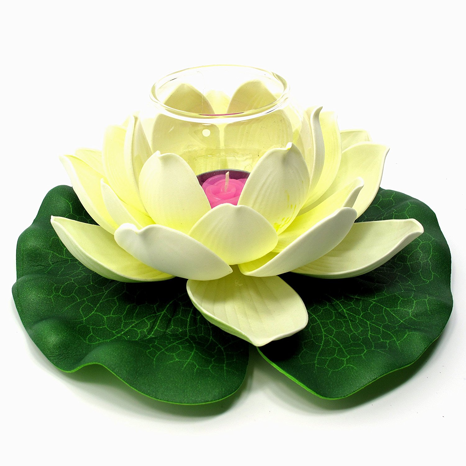 Buy Floating Lotus Flower With Glass Tealight Candle Holder Small