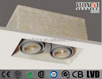 2 Heads Trimless Fibre Box Mr16 Recessed Downlight Gu5 3 Adjule Halogen Down Light R4b0014 Square