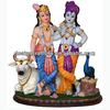 Marble & Radha Krishna Statue with Cow