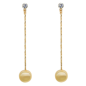 Latest Version Gold Plated Gold Plating Brass Circle ball drop earrings