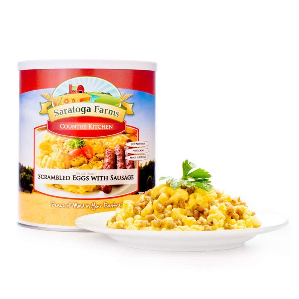 Saratoga Farms Scrambled Eggs with Sausage, Main Entree, #1 Emergency Food Storage, 16 Servings with a 20-30 Year Shelf-Life in #10 Can (Save More with 2,3,4, or 6 Pack)