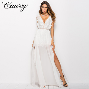 2018 Elegant Luxurious Floor Length V Neck Summer White lace chiffon dresses for women