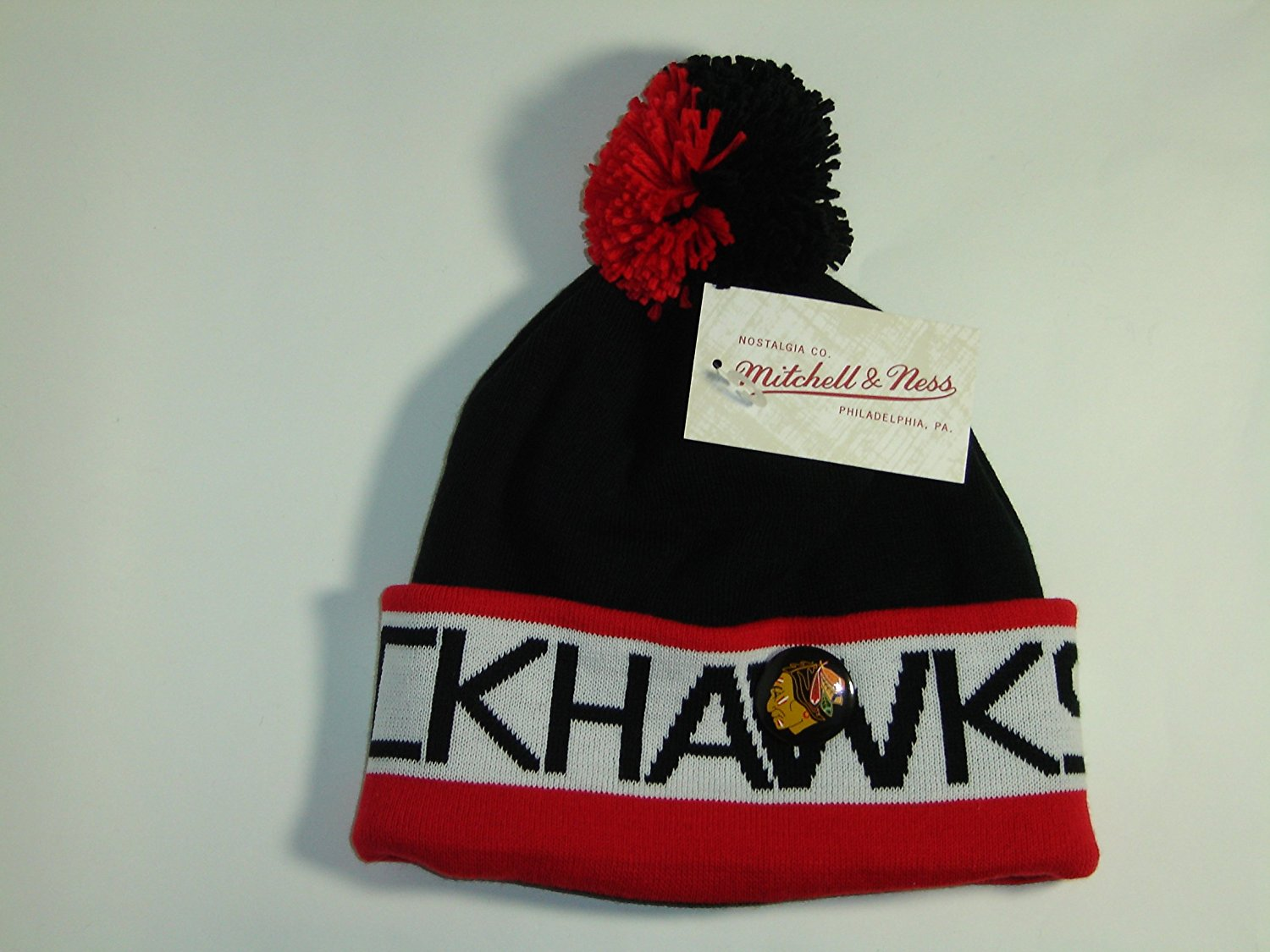 49dc01a614142 Get Quotations · Mitchell and Ness NHL Chicago Blackhawks 2 Tone Cuffed  Knit Pom Beanie Cap with Pin