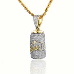 New Designer Pendant 14K Gold Finish Sprite Mini Bottle iced out pendant