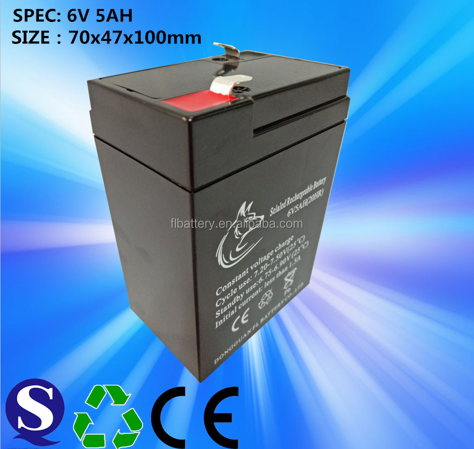 Dongguan Rechargeable Maintenance Free Lead Acid 6v5ah Storage Battery For Children Electric Toy