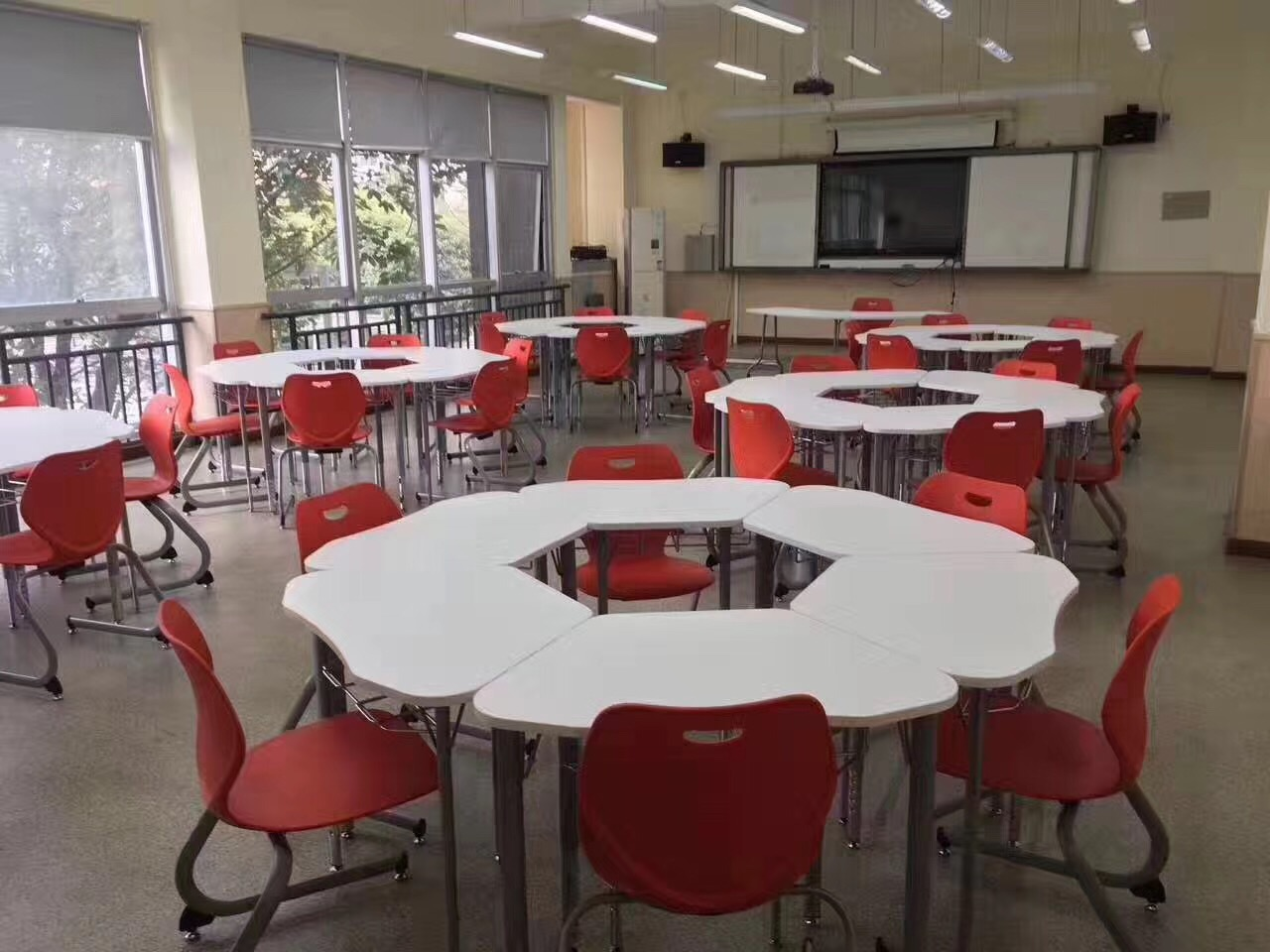 school hexagon smart classroom furniture student chair and table