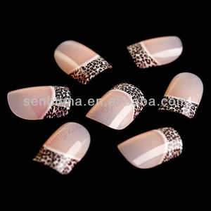 Leopard creative nail design edge nail tips factory