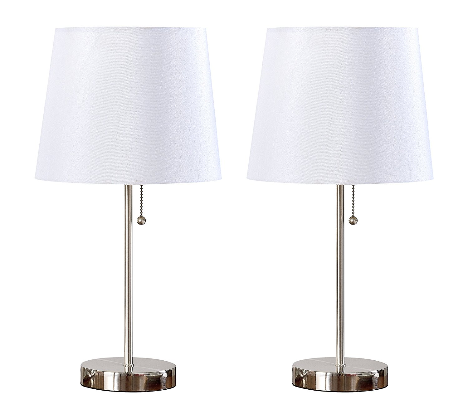 Get Quotations  C2 B7 Kings Brand Algoa Brushed Nickel With White Fabric Shade Table Lamps Set Of 2