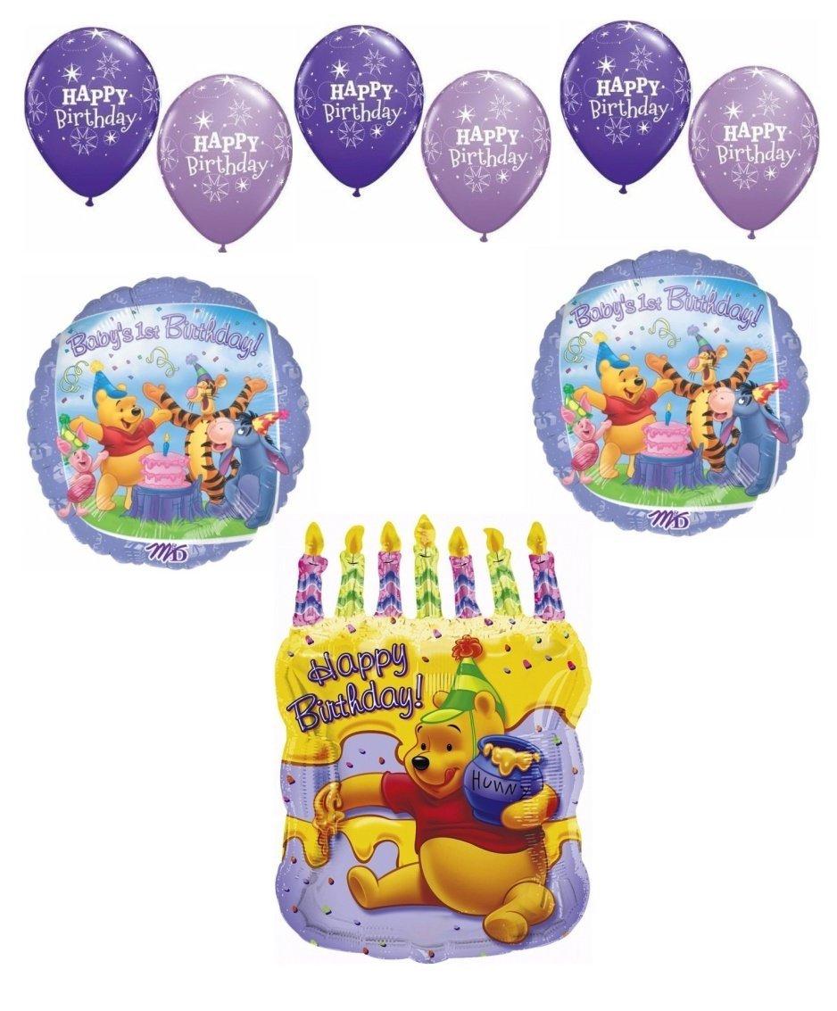 Buy Winnie the Pooh Balloon 1st Birthday Invitations w/ Envelopes ...