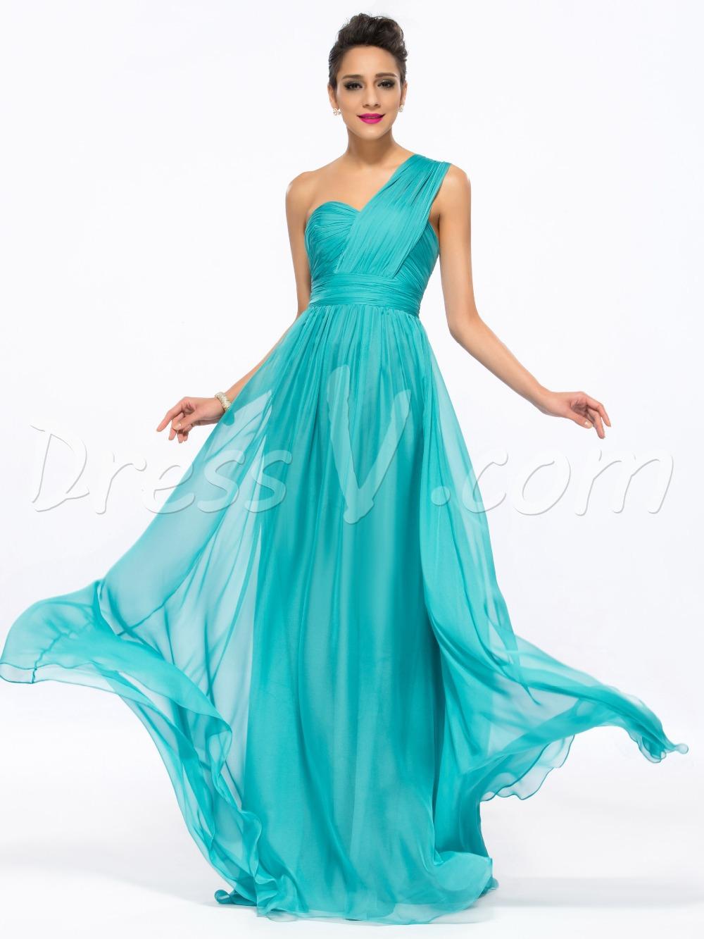 Get Quotations · Concise One-Shoulder Long Prom Dress Lake Green  Floor-Length Pleats Zipper-Up 3b9f18d48