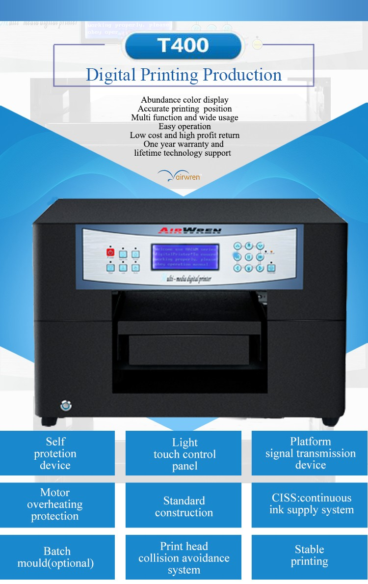 factory wholesale price digital t-shirt printer flatbed inkjet fabric  printing machine