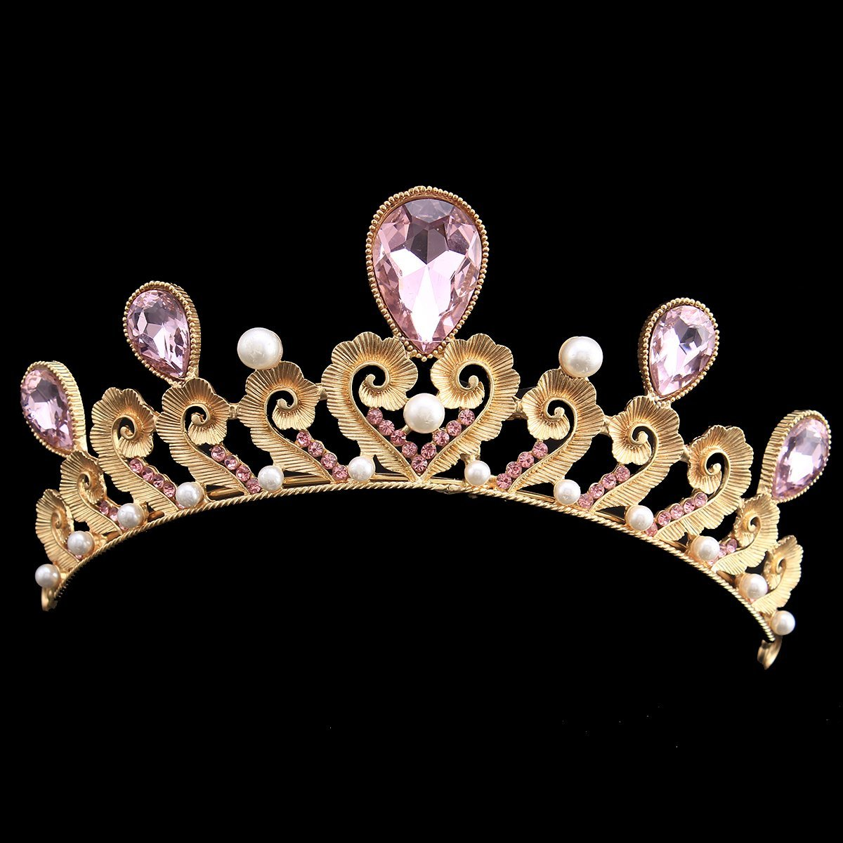 FUMUD Wedding Tiaras Crowns for Bridal Rhinestones Crystal Pearl Hair Accessories Jewelry Sparkling Princess Queen Pageant (Gold)