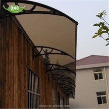 Diy hotel entrance polycarbonate awning/canopy with plastic glass roof awning