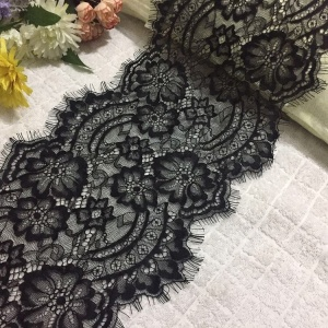 24 cm Eyelash Flower Design Inelasticity Black Lace For Dress Bra Curtain