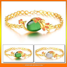 China factory Luxury 18k Gold Plated Green Agate Stone Peacock Bracelets for ladies