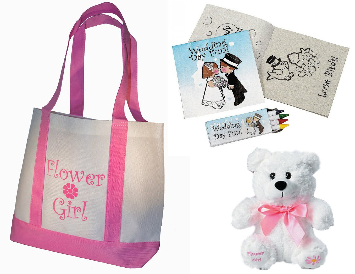 Cheap flower girl gifts find flower girl gifts deals on line at get quotations best flower girl gifts set tote bag teddy bear wedding day kids activity izmirmasajfo