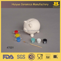 Wholesale animal printing color custom money box, piggy bank diy ceramic paint set painting toys