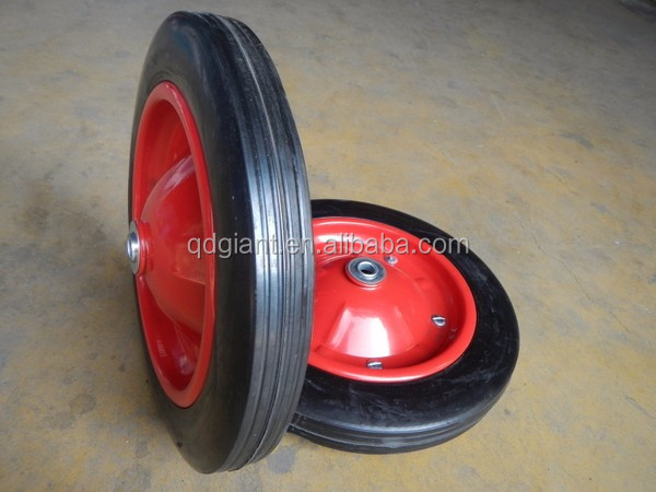 "13""x3"" solid rubber wheel with steel rim"
