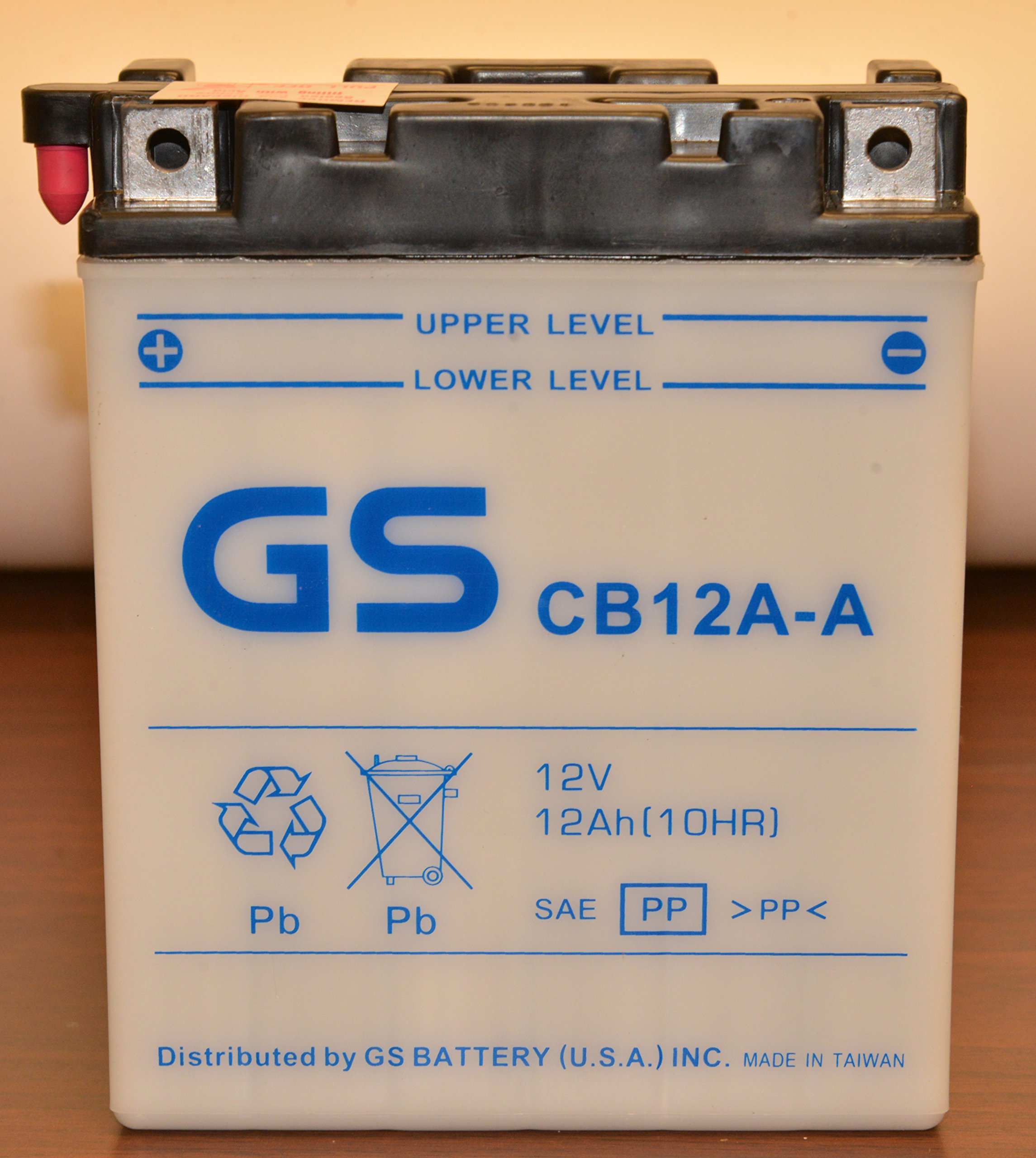 GS BATTERY - GS CB12A-A with Acid Pack – High Performance Powersports Battery for YUASA YB12A-A Replacement, Upgrade for 12N12A-4A-1... Fits ATV, Motorcycle, and Riding Lawn Mower applications
