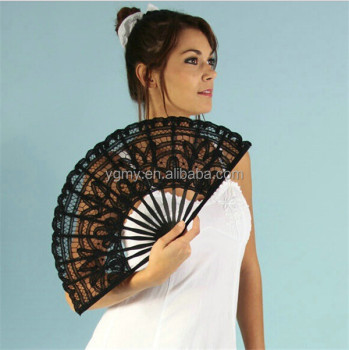 White Black Red 3colors Battenburg Lace Fans Vintage Lace Hand Fans with ORGANZA GIFT BAG