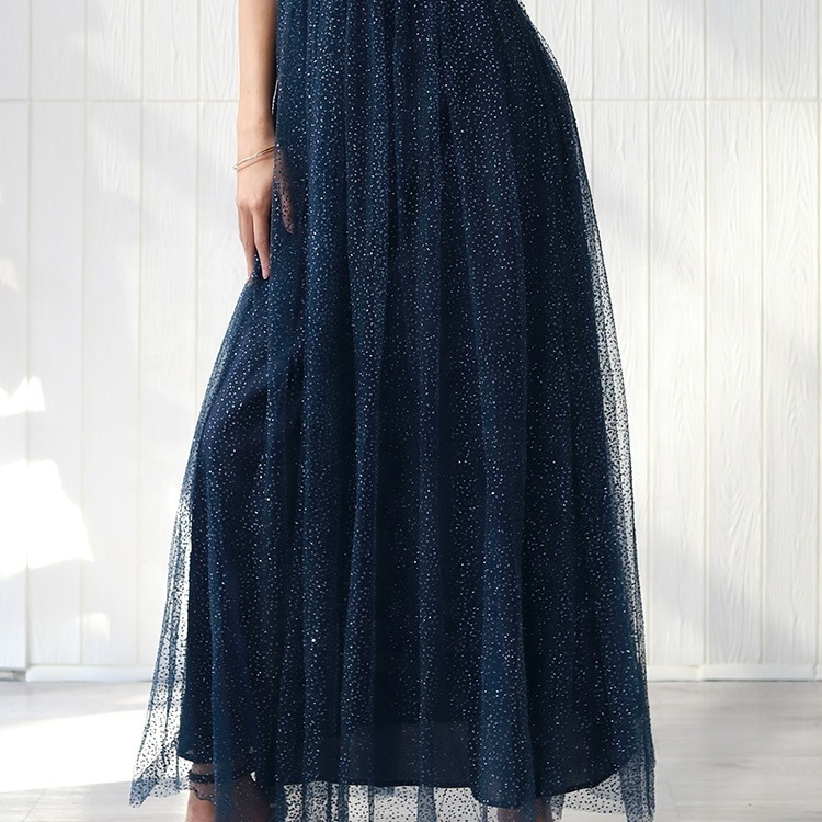 Women Open Back Wedding Dresses Evening Party Sleeveless Ladies Sequin Bridesmaid Dress Long Blue