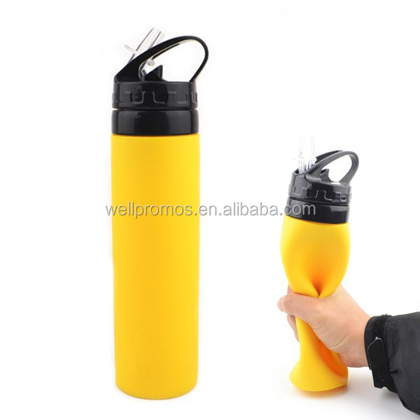 best quality food grade silicone sport foldable water bottle 650ml
