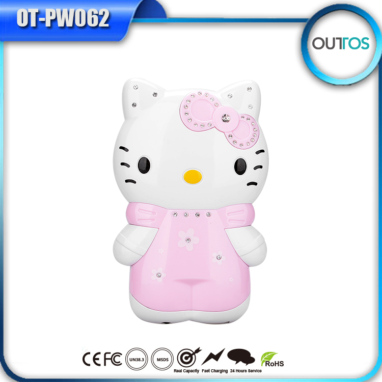 Hot selling cartoon power bank hello kitty 6600mah cellphone charger