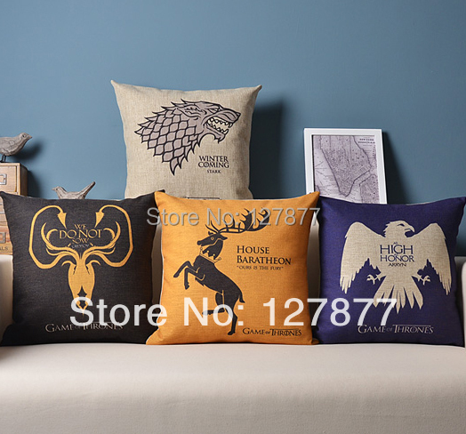 2014 New Totem of Ice and Fire Games Cushions Home Decor 4PCS Cotton linen Pillow Cushion Sofa Cover & Decorative Throw Pillows