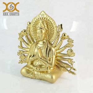 Thousands Hands Guanyin Figurine 3D Metal Gold Plated Small Statue