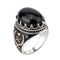 925 Sterling Silver Men Ring White Gold Plated Turkish Big Black Agate Stone Ring Designs