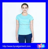 2015 Summer women viscose plain t-shirt 95% cotton 5% spandex womens plain O neck t shirts