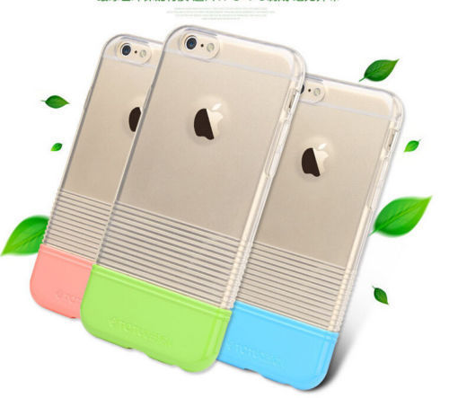 "Soft Color TPU + PC Transparent Back Case Cover for iPhone 6 4.7"" 5.5"" Plus black white yellow red green blue gold pink silver"
