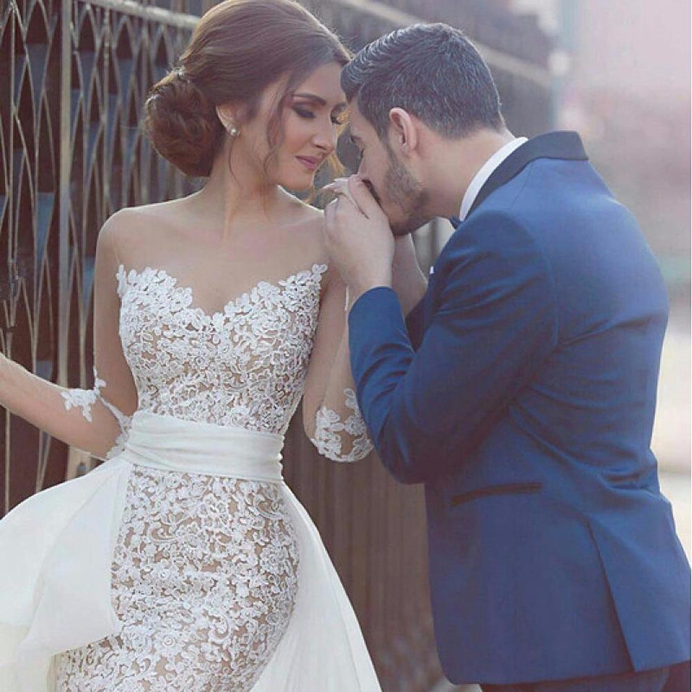 7e5eef11385 ZH2899G Short Mini Tulle Long Sleeves Sheath Column Lace Wedding Dresses  With Detachable Train