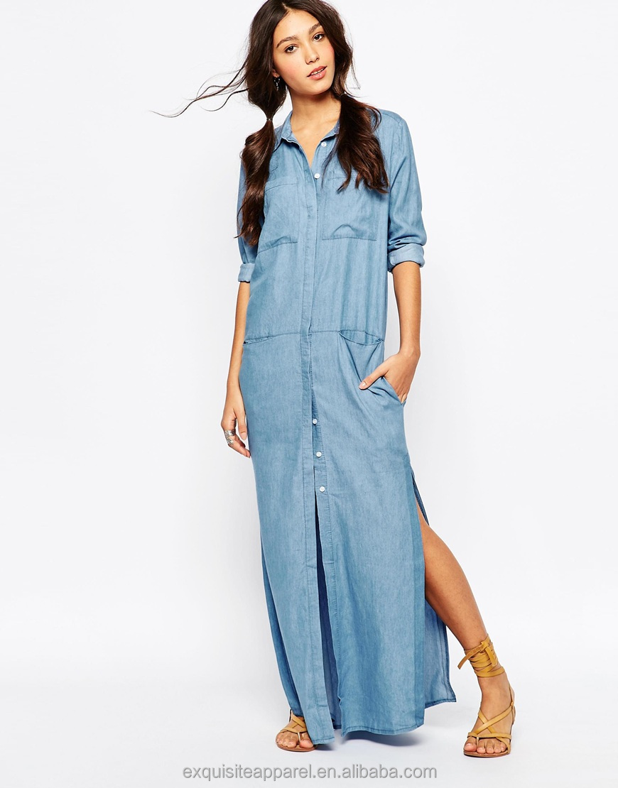 Extra Long Shirt Dress Long Sleeveless Wholesale Button Down Maxi