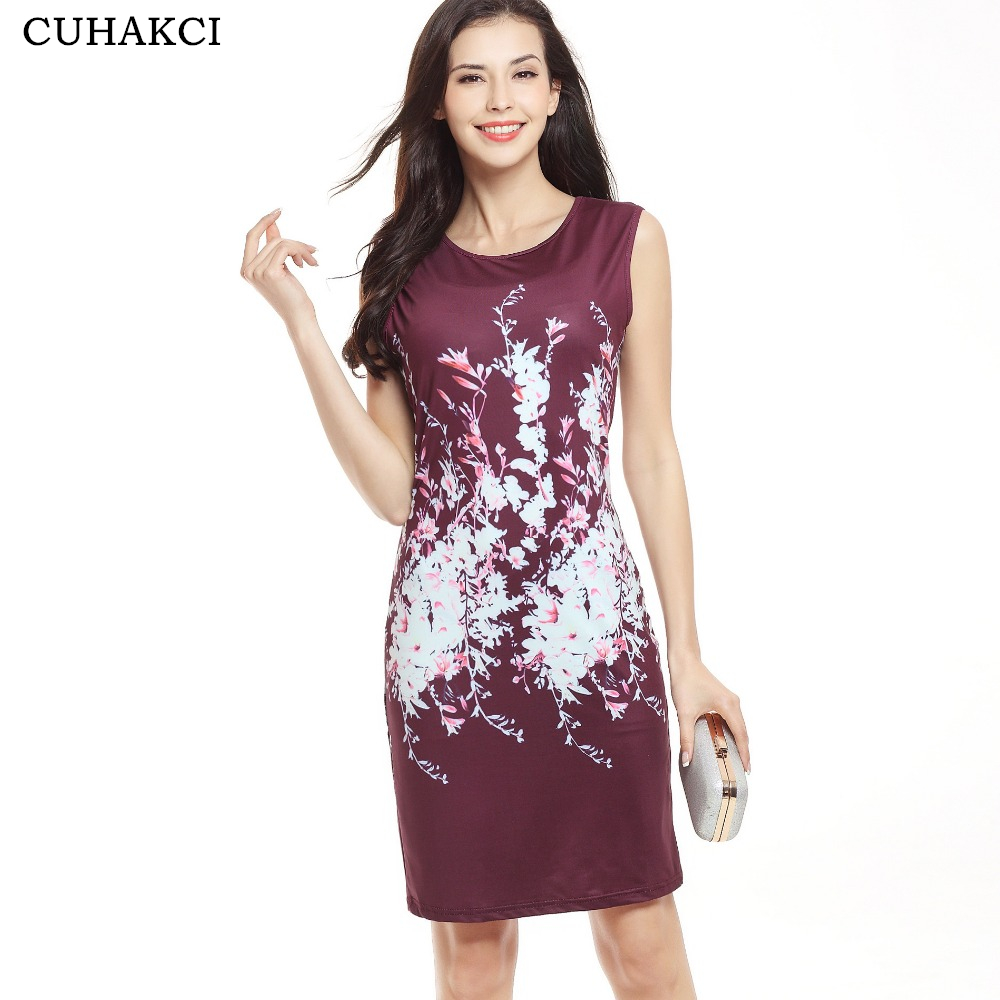 CUHAKCI Women's Elegant Bodycon Floral Basic Casual Dress Party Round Neck Sleeveless Mini Dresses