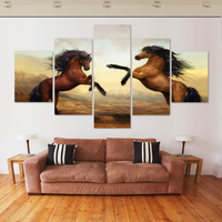 Home Decoration 5 Panel Canvas Wall Art Animal Horse Painting Oil Painting