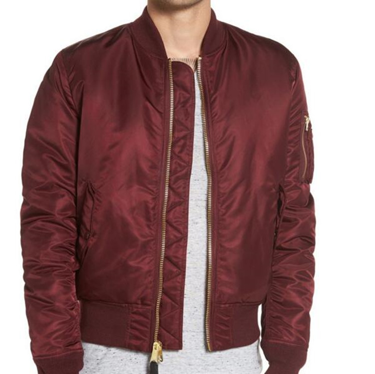 2018 Custom Men Blank Plain Nylon Ma-1 Flight Bomber Jacket Wholesale