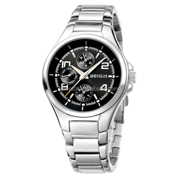 WEIQIN W2175 Men's All Stainless Steel Black Colour Wrist Watch