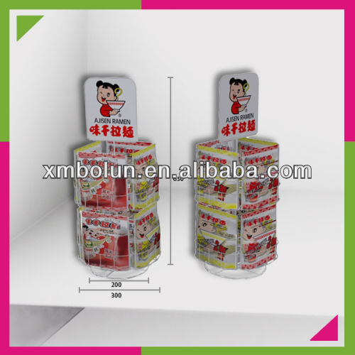 Metal counter top rotating four sided display rack for noodles