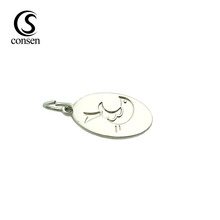 Oval shape silver color custom logo stamped jewelry tags for bracelet