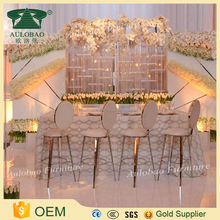 Best discount white leather round back golden chair bar stools