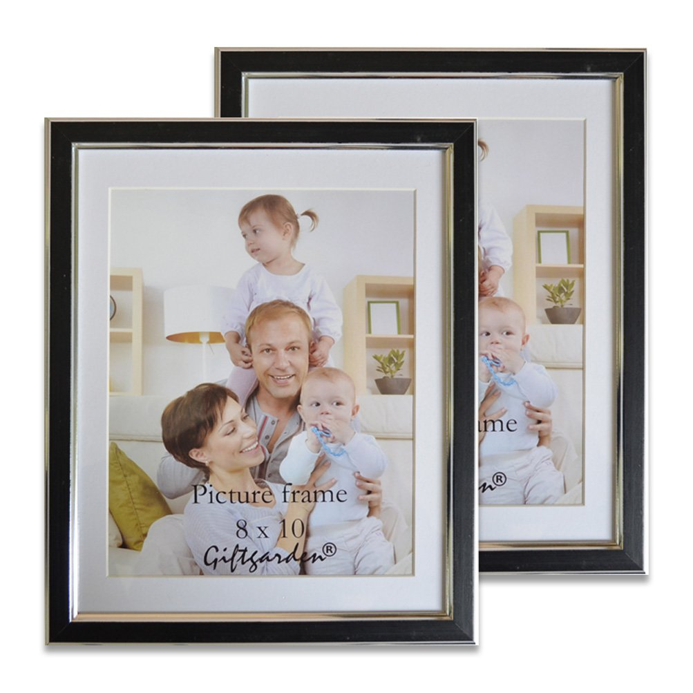 Giftgarden Picture Frames 8x10 Photo Frame Set Wall, Mat Included, Black, Pack of 2