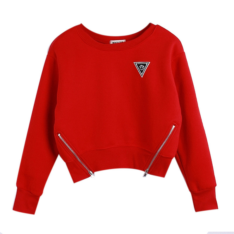 Women Loose Side Zipper Short Sweatshirt Red Long Sleeve Bust Embroidery Pullover 2015 Autumn Winter Kawaii Loose Female Hoody