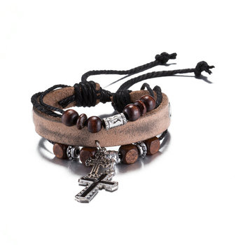 Jenia Zinc Alloy Cross Light Brown As Stretch Leather Rosary Bracelet With Snap Clasp
