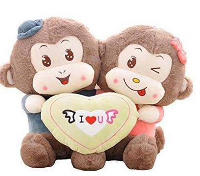 Cute Holding Heart Couple Monkey Plush Toy Soft Stuffed Animal Doll