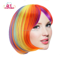 Bob Style High Quality Rainbow Costume Wig Character Adult Halloween Accessory