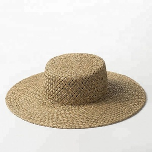 2018 Summer Hand Woven Seagrass Hat Straw Boater Hat Designer Pattern Travelling Beach Sun Hat