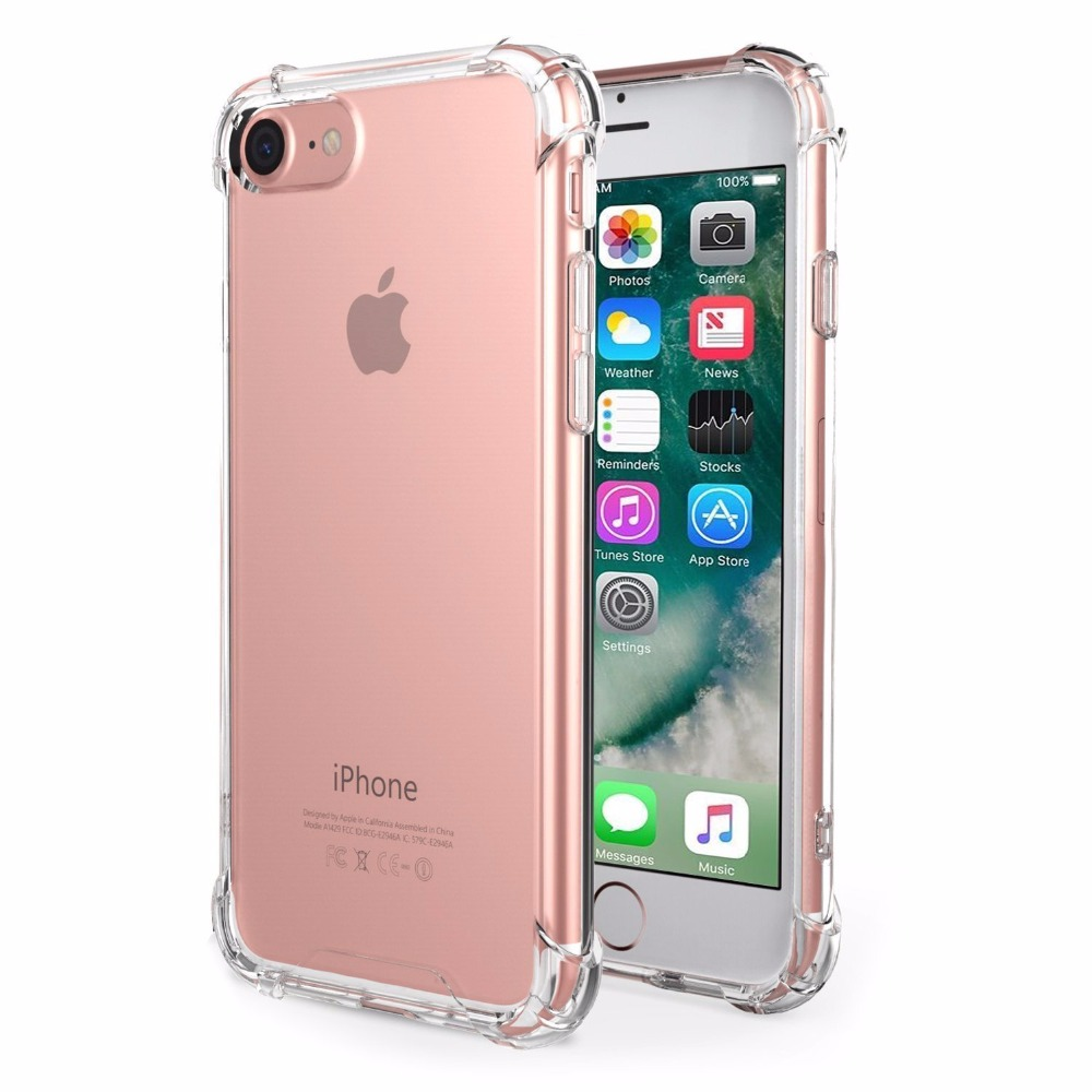 For iPhone 7 Case Crystal Clear Cover Case shockproof with Transparent Hard Plastic Back Plate and Soft TPU Gel Bumper