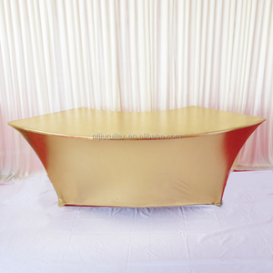 75cm radian * 75 cm Tall Serpentine/Scallops Gilded Gilt/Metallic Bronzing Elastic Spandex Strech Table Cover Cloth